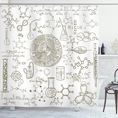 """Ambesonne Science Shower Curtain, Science Theme Hand Drawn Style Chemistry Laboratory Illustration, Cloth Fabric Bathroom Decor Set with Hooks, 70"""" Long, White Umber"""
