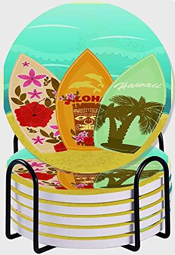 GUVICINIR Juego de 6 Posavasos de cerámica Absorbente con Base de Corcho,Tiki Bar Hawaiian Beach Tablas de Surf sobre Arena Exóticas Vacaciones de Verano Deporte Estilo Vintage