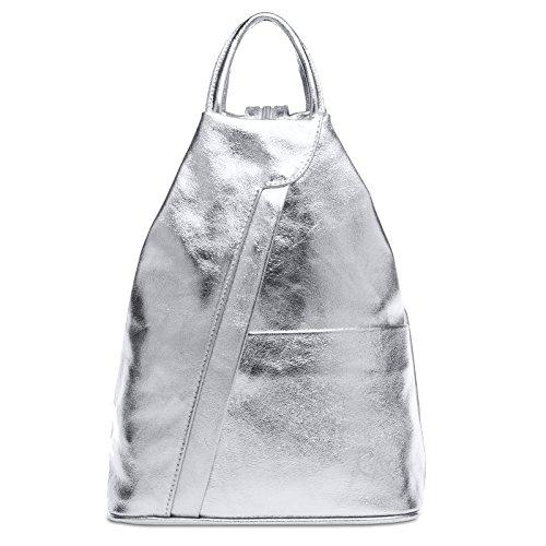 Caspar TL782 2 in 1 Leder Rucksack Handtasche, Farbe:silber, Größe:One Size