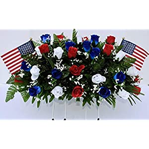Patriotic Cemetery Headstone Saddle Flowers in Red White and Blue Roses with Flags