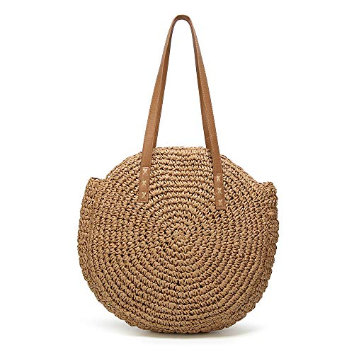 Women's Straw Handbags Large Summer Beach Tote Woven Round Pompom Handle Shoulder Bag