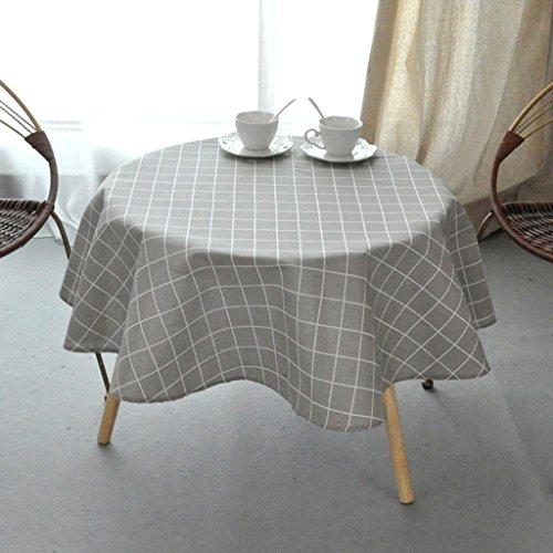 Nappe européenne Table ronde en coton - (grande nappe ronde en treillis) Cuisine Salon Table basse Nappe ronde nappe (Couleur : C, taille : Round -110cm)