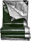 Cubierta de lona de lona resistente a prueba de agua a prueba de agua Tar lona de plata / verde con ojales y bordes reforzados, lonas de trabajo pesado para tiendas de toldo de lona, barco, RV o cub