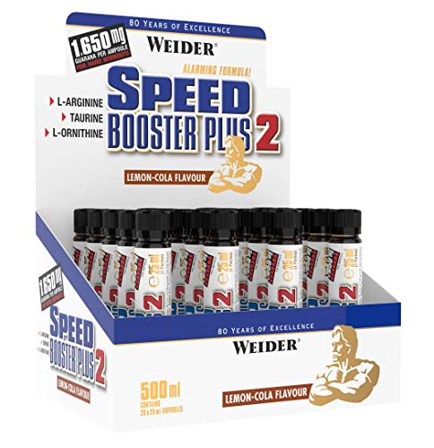 Weider Speed Booster Plus Pre-Workout Energy Shot, 20 x 25 ml Ampoules, Lemon-Cola Flavor