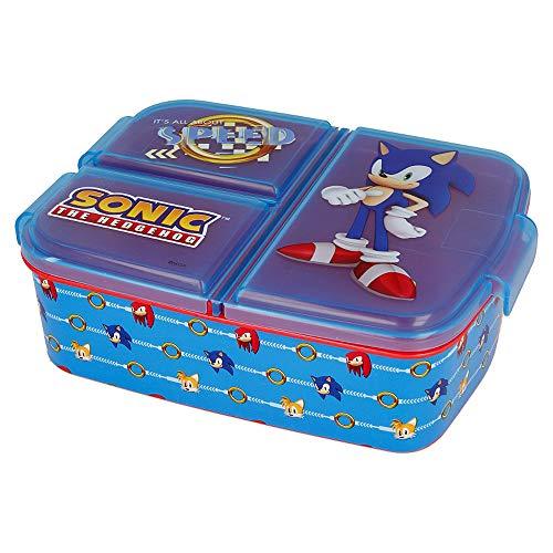 Sonic Kinder Brotdose mit 3 Fächern, Sonic the Hedgehog Lunchbox,Bento Brotbox für Kinder - ideal für Schule, Kindergarten oder Freizeit