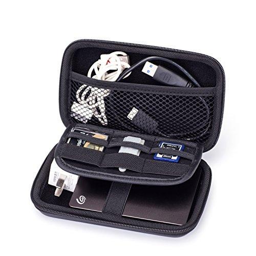 GUANHE Custodia per Chiavette USB Borsa Organizzatore per Cavi/ Schede SD/Hard-disk/Caricabatteria/Auricolari Borsa Organizer da Viaggio Porta Accessori Elettronici, Nero