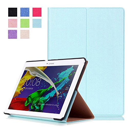 Lobwerk Tasche für Lenovo Tab 3 10 Business A10-70F TB3-X70 (F/L) Plus 10.1 Zoll Schutz Hülle Flip Tablet Cover Case (Hellblau) NEU