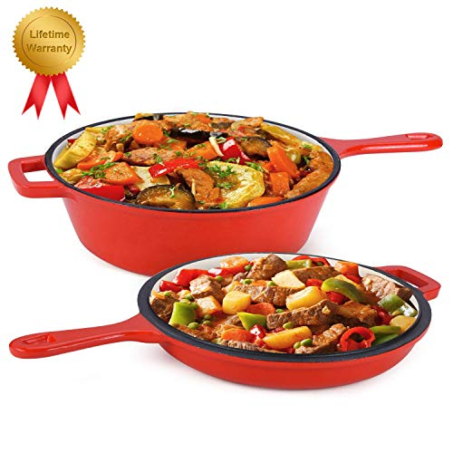 Enameled 2-In-1 Cast Iron Multi-Cooker – Heavy Duty 3.2 Quart Skillet and Lid Set, Cast Iron Saucepan and Shallow Skillet Lid Set Sauce Pot & Nonstick Frying Pan (Red)