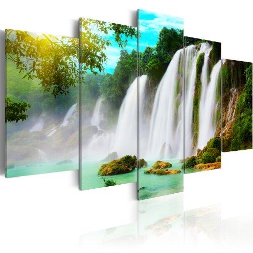 murando Cuadro en Lienzo Cascada Paisaje 200x100 cm Impresión de 5 Piezas Material Tejido no Tejido Impresión Artística Imagen Gráfica Pared Lago Bosque Naturaleza 030212-84