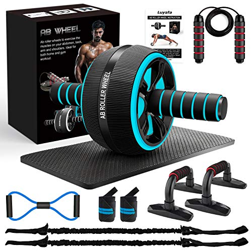 10-In-1 Ab Wheel Roller Kit with Resistance Bands, Knee Mat, Jump Rope, Push-Up Bar - Home Gym Equipment for Men Women (Blue)