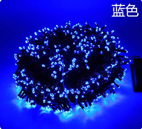 Luces De Cadena Solares Teledirigidas Luces De Cadena De Decoración De Vacaciones A Prueba De Agua Al Aire Libre azul [Ocho funciones] Solar 12m 100 luces (alta calidad) sin mando a distancia