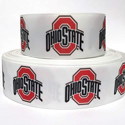 "Grosgrain Ribbon 1.5"" Ohio Sports White Football Printed Per Yard"