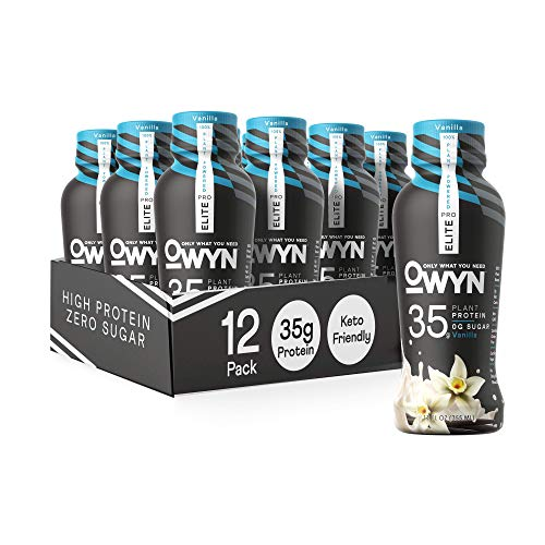 Owyn Pro Elite Plant-Based High Protein Shake | Vanilla, 12-Pack | 35g Plant Protein and Superfoods Greens for Workout and Recovery, 0g Net Carbs, Zero Sugar, Keto, Vegan