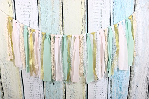 Lace Tassel Garland Fabric Garland Rag Tie Garland Shabby Chic Blush Banner Wedding Backdrop Wedding Decor Baby Shower Party Decor Home Decor Wall Hanging Boho Decor Fall Decor Birthday Banner