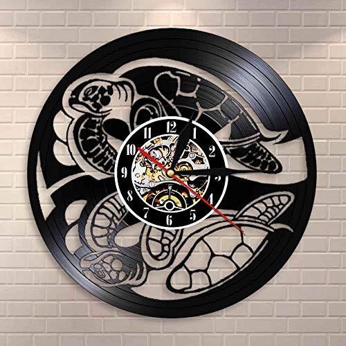 Tbqevc Reloj de Pared de Animales para Mujer Reloj de Pared de Vinilo con Animales Percha Decoración para el hogar Regalo de Pared 12 Pulgadas