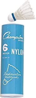 Champion Sports Nylon Indoor Shuttlecock, 6 PACK/white/blue band