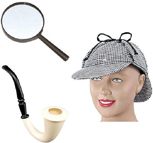 Top Brand Chapka Détection, pipe et loupe en verre déguisement Sherlock Holmes