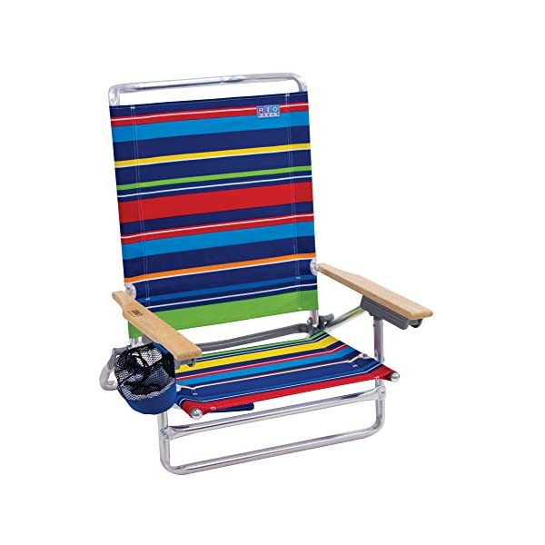Rio Beach Classic 5 Position Lay Flat Folding Beach Chair – Pop Surf Stripes
