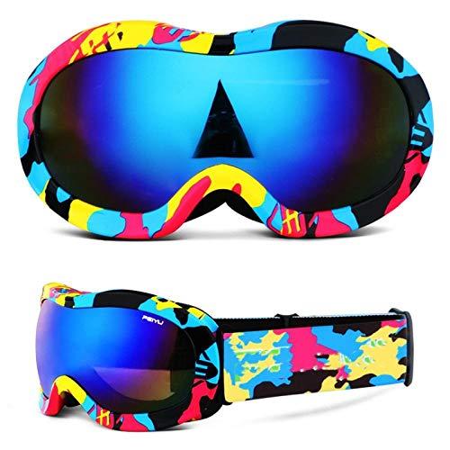 Generieke skibril kinderskibril met twee lagen, condensvrij, voor jongens en meisjes. Grote kogelvormige brillen kunnen corrigerende brillen dragen