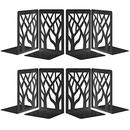 4 Paires Serre-Livre en Métal pour Livres, MSDADA Anti-Rayures Porte-Livres pour Bureau, Ecole et Maison, Séparateurs de Livres, CD, Porte-Dossier pour Bureaux(Noir)