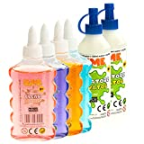 Nice Group - Slime Glue Clear, kit de 4 colas surtidos y 2 activadores.