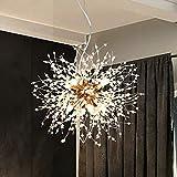 LynPon Moderno Sputnik Lámparas de araña dorado de cristal, lámpara de techo con fuegos artificiales, lámpara colgante para comedor, dormitorio (8 luces, diámetro 15,7 pulgadas)