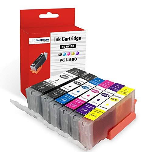 SMARTOMI PGI-580XXL CLI-581XXL Compatibili con Canon pgi-580 cli-581 Cartuccia InkJet, per Stampanti Canon Pixma TS6150 TR8550 TS6250 TS8150 TR7550 TS6151 TS8151 TS6150 TS8151 TS9150 TS9155(6 Pacco)