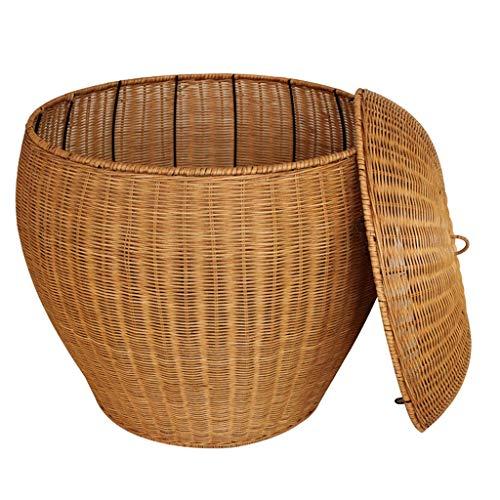 ZHAOSHUNLI Panier à linge Panier à linge panier de rangement rotin de bambou grand jardin couvert vêtements créatifs poignée de rangement de jouets (Color : Yellow)