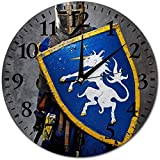 sam-shop Relojes de Pared The Warrior Round Glass Wall Clock, Relojes de Pared