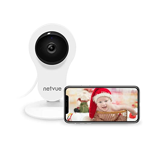 NETVUE Home Security Camera, Compatible with Alexa Echo Show, WiFi Wireless Security Camera with Motion Detection, 7x24h Cloud Storage, Night Vision, 2 Way Audio, Baby Monitor (White)