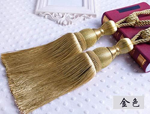 RUXMY Moda Cortina Tie Back Tie-Up Corbata Creativa Atado con Correas de Cortina Un par de Accesorios Decorativos de joyería Dormitorio Cuerda de algodón Tenis Cama Cortina Tie-Golden Par