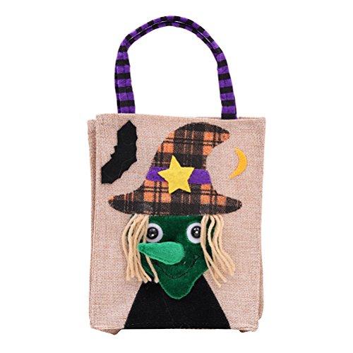 Emorias 1pcs Halloween Bolsa de Almacenamiento de Compras de Regalo de Caramelo de Dibujos Animados Creativos - Bruja
