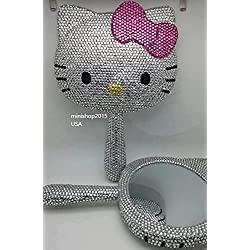 minishop2015 Bling Bling Hello Kitty Handheld Make up Sparkly Compact Mirror Handmade with Crystals ^Light Pink Bow