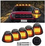 Cab Marker Lights, Smoke Lens Amber 16 Led Roof Running Lights, Top Clearance Light for 1999-2016 Ford F150 F250 F350 F450 F550 F650 F750 E150 E250 E350 E450 Super Duty Pickup Truck (Pack of 5)