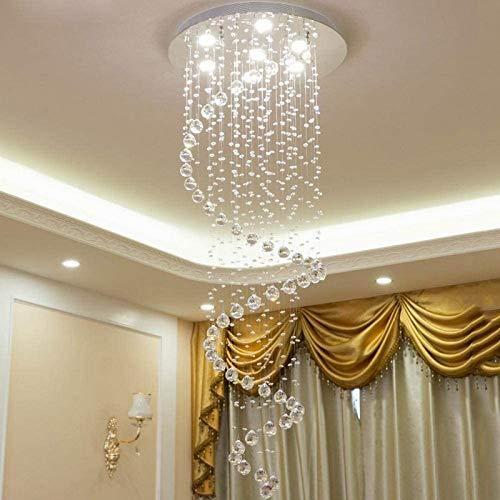 GOHHK Lámparas Colgantes, Escaleras Escalera Caracol K9 Lámpara Colgante Cristal LED Moderno Minimalista Duplex Villa Piso la casa Sala Estar Grande Lámpara Techo Araña