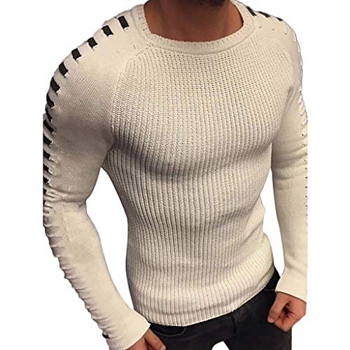 Pull Homme Hiver, Manadlian Pull en Tricot Pullover Rayées Manches Sweatshirt Casual Homme Tops