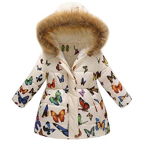KEERADS Manteau Fille,A Capuche Col Fourrure Long Coat Mignon Mode A Fleurs Imprimé Hiver Chaud éPais pour Les Filles Garcons Blouson 3-7 Ans Manteau Enfant Fille