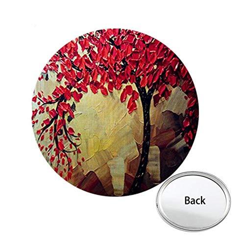 JWEIJIAO Rode Bloemen Boom Art Foto Een Zijzak Spiegel Leven Draagbare Make-up Vanity Hand Reisportemonnee A550 Z-1