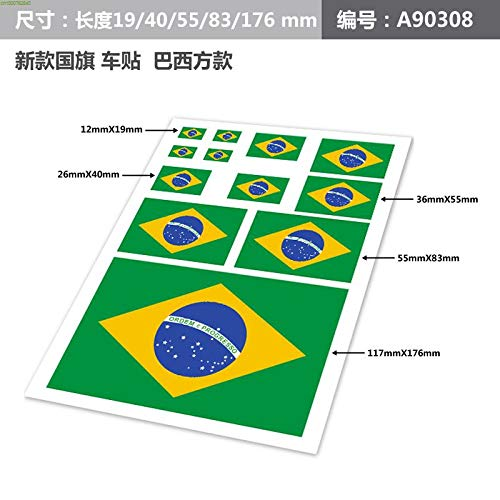 Brazil flag design vinyl sticker on car,personality doodle car body decor stickers and decals,car styling
