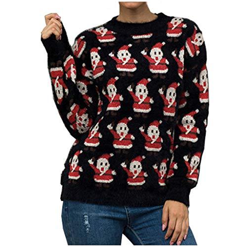 BIKETAFUWY Damen Weihnachtspullover Lang Strickpulli Warme Strickpullover mit Weihnachtsmann drucken Christmas Sweater Rundhals Pullover für Winter Festlich Winterpulli