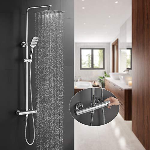 BONADE Duschsystem mit Thermostat Duschkopf aus Edelstahl Verstellbare Duschstange Handbrause Duschsäule mit Wandhalterung für Bad Dusche (Regendusche mit Duschkopf eckig 24,6x24,6cm)