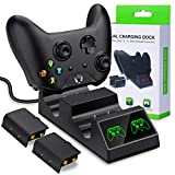 BEBONCOOL Xbox One Controller Batteries Packs, Xbox One X/One S/One Elite Dual Controller Charging Station with 2x1200mAh Rechargeable Battery Charge Kit