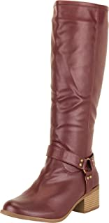 Cambridge Select Women's Western Moto O-Ring Harness Chunky Block Low Heel Mid-Calf Boot