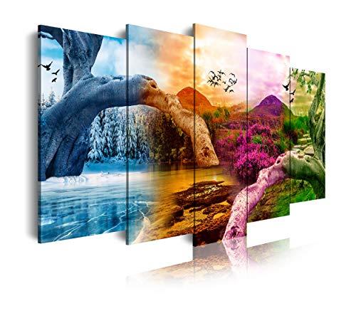 DekoArte 521 - Cuadros Modernos Impresión de Imagen Artística Digitalizada   Lienzo Decorativo para Salón o Dormitorio   Estilo Paisaje Cuatro Estaciones del año Montañas Árboles   5 Piezas 150x80cm