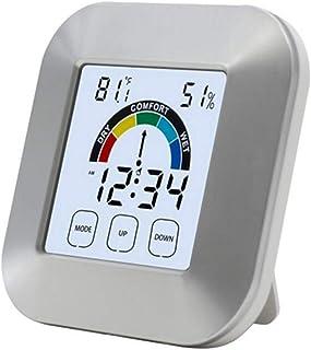 xdrfxrghjku Termómetro Interior Hygrometer Electronic Touch Type Weather Clock Indicador De Confort Termómetro Sin Batería...