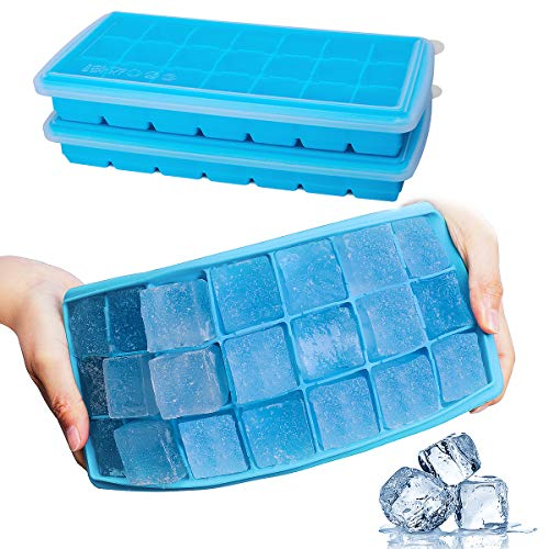 Ice Cube Trays, GDREAMT 2 Pack Silicone Ice Tray with Removable Lids Easy Release Flexible 21 Ice Cube Molds BPA Free for Whiskey, Cocktail, Stackable Durable & Dishwasher Safe
