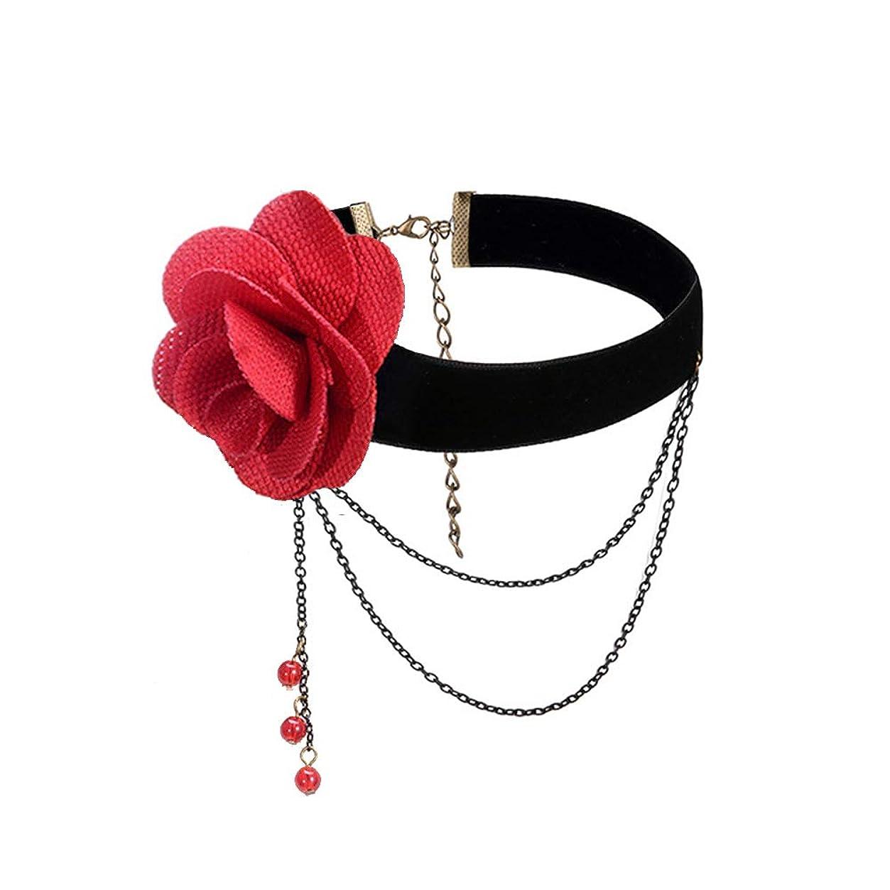 不適切な遠征ワイドEKIND アンティーク 薔薇 チョーカー ロリータ ゴスロリ コスプレ ネックレス 首輪 バラ (赤)