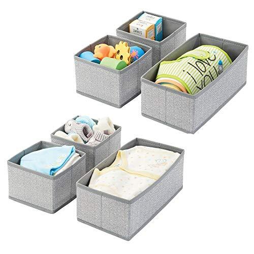 mDesign 6er-Set Aufbewahrungsbox – atmungsaktive Stoffbox mit Fischgrätmuster für Windeln, Lätzchen etc. – vielseitige Schubladen Organizer für das Kinderzimmer – grau