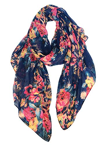 GERINLY Lightweight Scarves: Fashion Flowers Print Shawl Wrap For Women (Blue)
