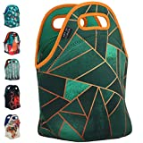 Art of Lunch Insulated Neoprene Lunch Bag for Women, Men and Kids - Reusable Soft Lunch Tote for Work and School - Design by Elisabeth Fredriksson (Sweden) - Emerald & Copper